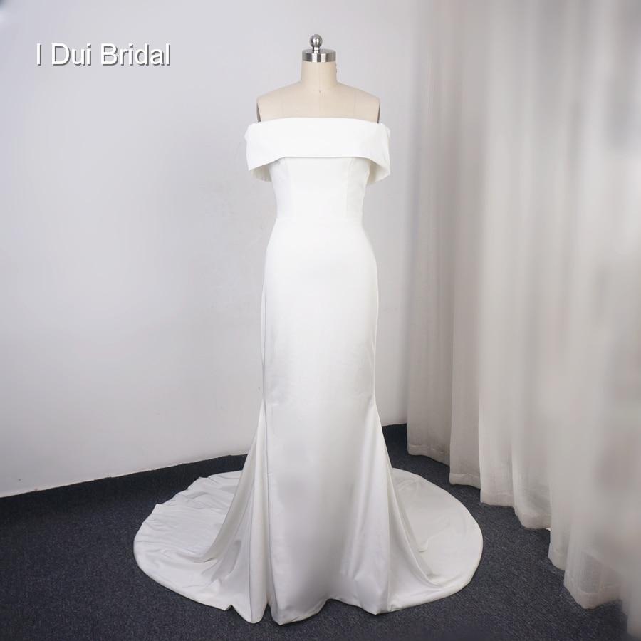 spandex Satin Sheath Wedding Dress Pure Bridal Gown High Quality