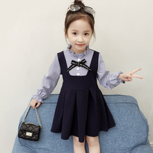 Dress for Girls Fall Korean The Princess Dress 2018 Autumn 2 3 4 5 6 7 8 Year Kids 2 Pieces Long Sleeve Striped Blue Dress spring autumn girls dress casual turtleneck long sleeve children princess dresses 3 4 5 6 7 8 9 year kids striped party clothes