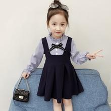 Dress for Girls Fall Korean The Princess Dress 2018 Autumn 2 3 4 5 6 7 8 Year Kids 2 Pieces Long Sleeve Striped Blue Dress цена в Москве и Питере