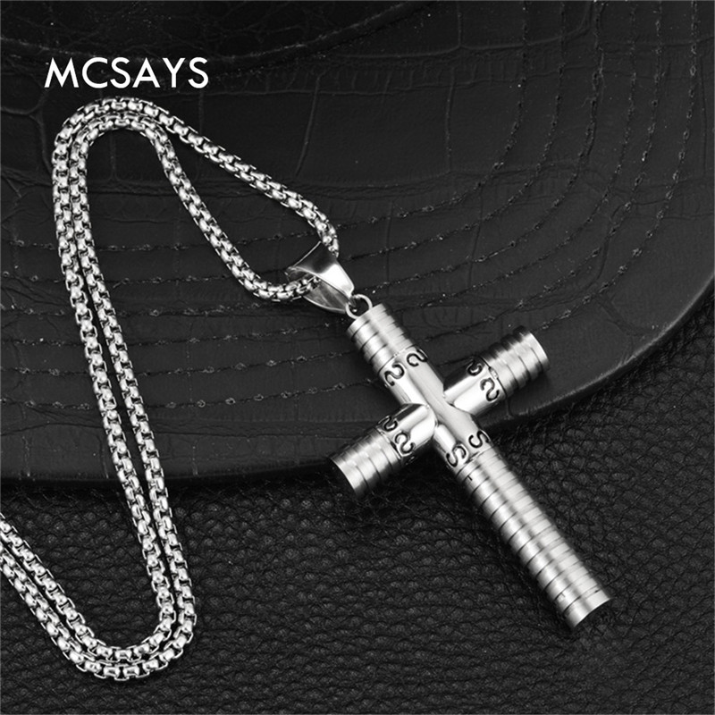 MCSAYS Hiphop Jewelry Cross Poker cards spades, clubs and hearts, Squares Pendant Box Chain Necklace Accessory Mens Gift 4HP