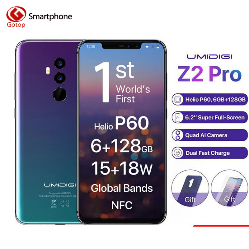 Umidigi Z2 Pro FHD+Full Screen 6GB RAM 128 ROM Mobile phone Helio P60 Octa Core 6.2