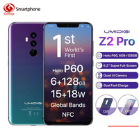 Umidigi Z2 Pro FHD+Full Screen 6GB RAM 128 ROM Mobile phone Helio P60 Octa Core 6.2 Android 8.1 Four Camera 4G LTE Cell phone