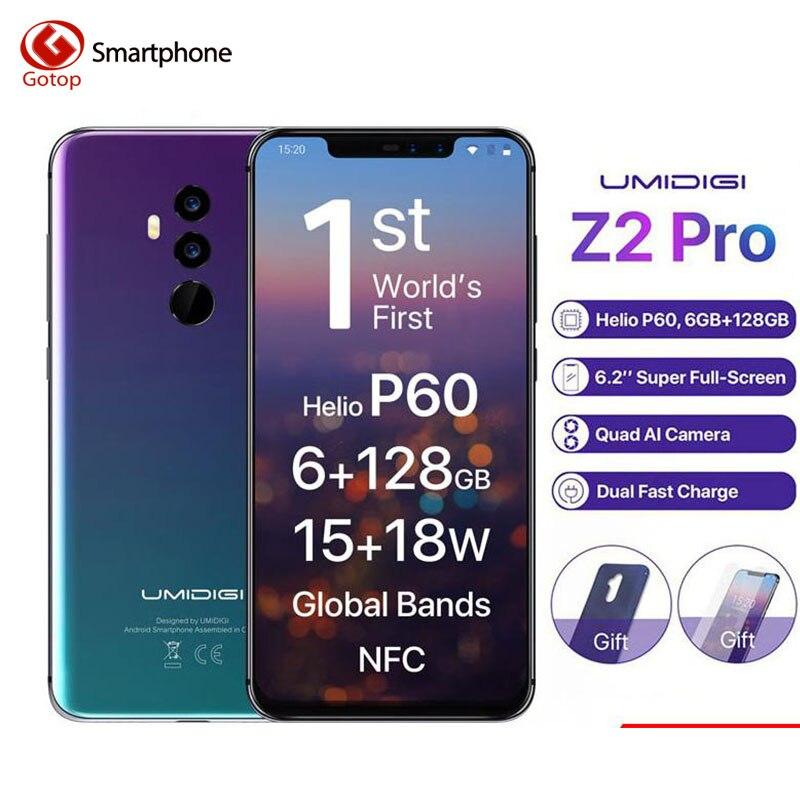 Umidigi Z2 Pro Full HD + полный Экран 6 ГБ Оперативная память 128 Встроенная память мобильного телефона Helio P60 Octa Core 6,2 Android 8,1 четыре Камера 4G LTE сотовый те...