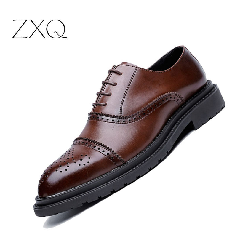 British Style Men Oxford Brogues Genuine Leather Lace Up Comfortable Casual Oxford Shoes For Men Classic Office Dress Shoes men s leather shoes vintage style casual shoes comfortable lace up flat shoes men footwears size 39 44 pa005m