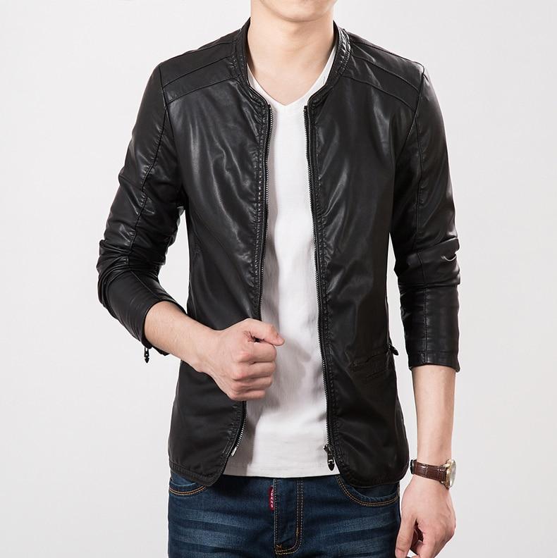 2015 nuevo otoño Slim Fit chaqueta de cuero abrigos marca