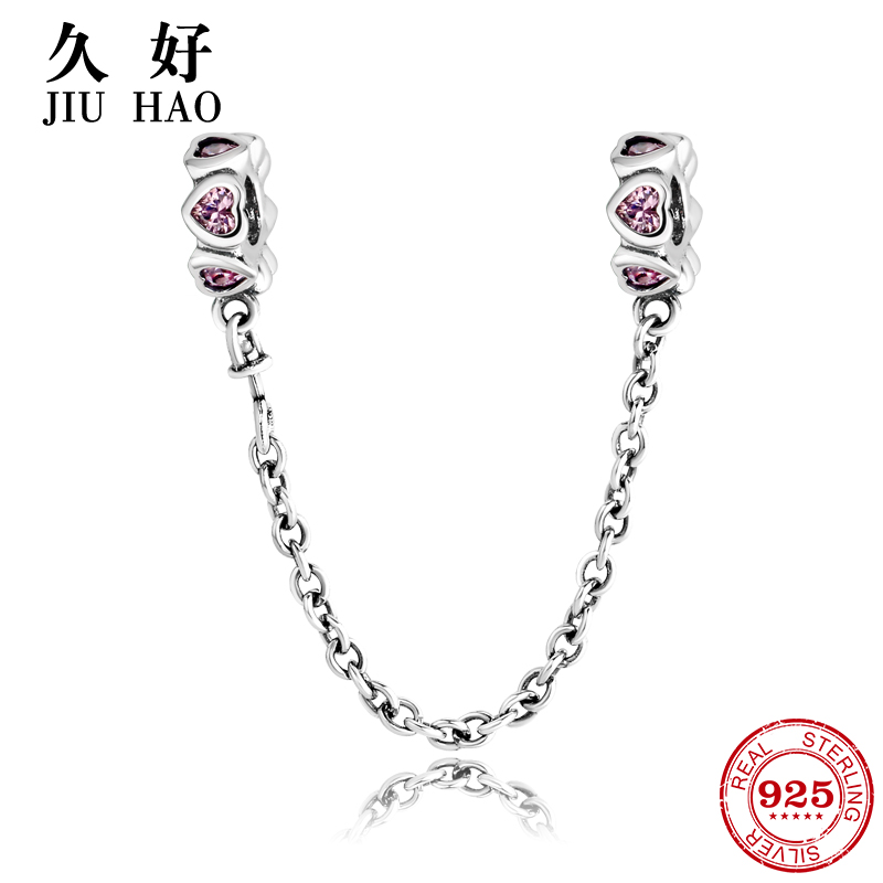 Real 925 Sterling Silver Bead Pink heart Safety Chain Charm diy for fashion Fit Original Pandora Charms Bracelet Jewelry making
