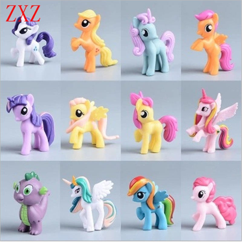 7CM Collection Model Toys for Children Anime cartoon Lovely Rainbow Horse Princess Luna Unicorn Poni opp rainbow horse girl gift цены онлайн