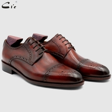 cie Bespoke Custom Handmade Full Grain Genuine Calf Leather Blake Stitch Breathable Lacing Men's Derby shoe Patina Brown No.DE03 cie square plain toe whole cut patina dark brown custom calf leather outsole breathable bespoke leather men shoe handmade ox415