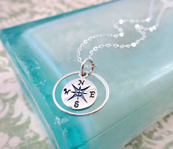 Graduation gift for her compass necklace follow your dreams graduation gift for her compass necklace follow your dreams friendship silver necklace best friends bridesmaid gift in pendants from jewelry accessories aloadofball Image collections