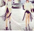 2017 Moda Boho Fringe Borlas Preto Cintos de Couro Do Falso Das Senhoras Combinando Cravejado Cintos Para calças de Brim das Mulheres Cintura Alta Longa