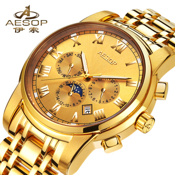 Luminous Automatic Mechanical Wristwatch AESOP Top Brand Fashion Watch Men Waterproof Male Clock Calendar Relogio Masculino