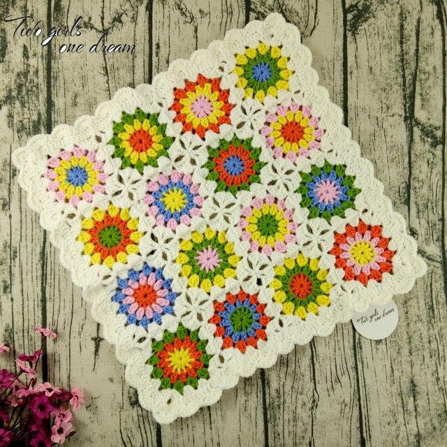 Diy Handmade Crochet Table Mats Cover Hand Crochet Blanket Seat