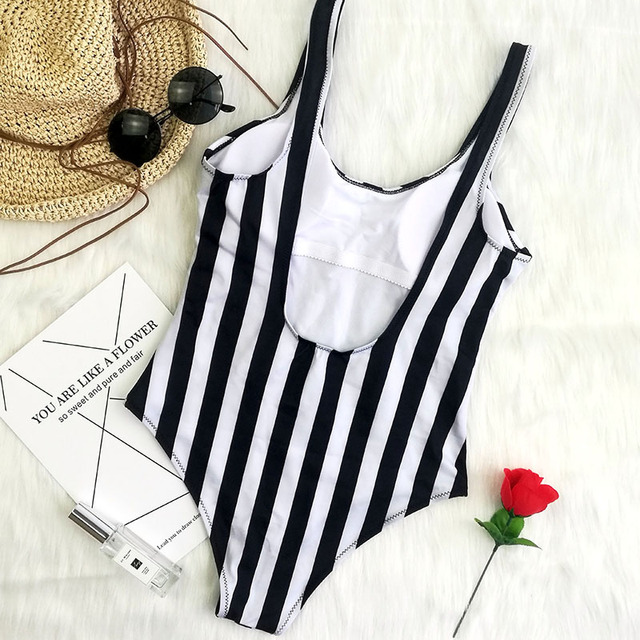 Color striped black white swimming suit for women sport one piece swimsuit for girls Leotard female swimwear women 2018 monokini 1