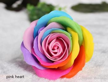 Rainbow 7 colorful Rose Soaps Flower Packed Wedding Supplies Gifts Event Party Goods Favor Toilet soap Scented bathroom accessor