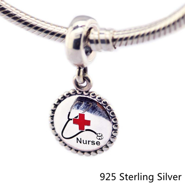 925 Sterling Silver Jewelry Nurse Dangle Charm, Mixed Enamel Original Beads Fits