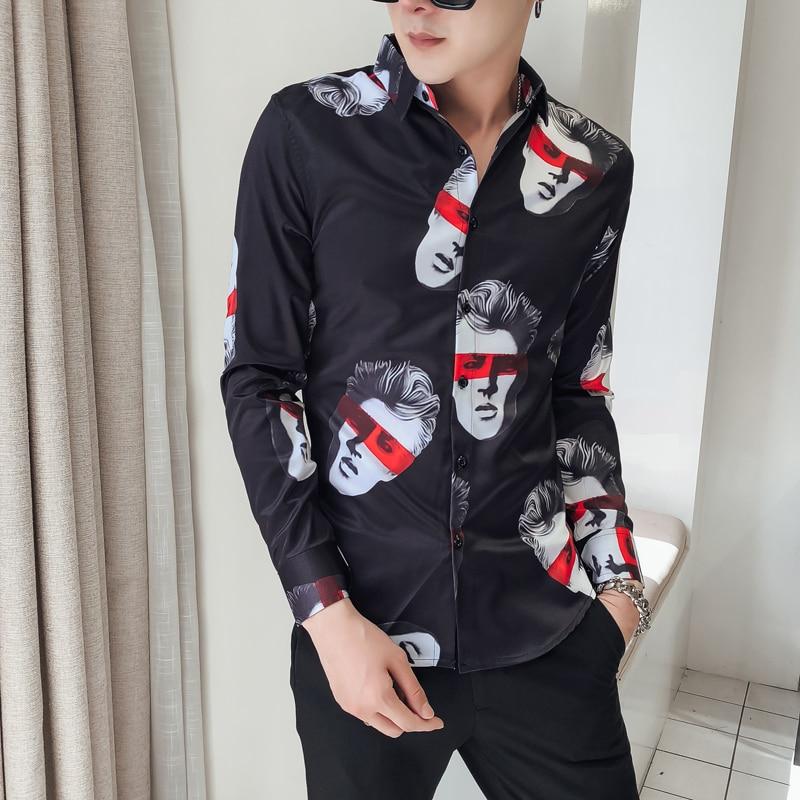 Nett Marke Neue Männer Hemd Mode 2018 Herbst Winter Slim Fit Drucken Smoking Langarm Drehen Unten Kragen Kleid Shirts Männer Der Kleidung Ungleiche Leistung