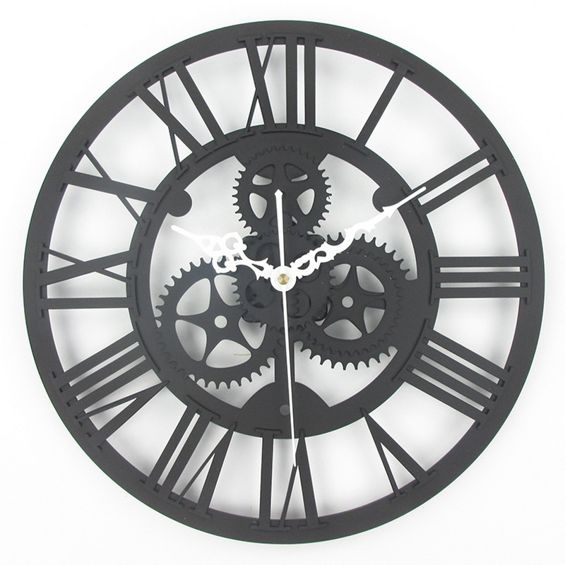 Large Antique Wall Clock 3D Acrylic Gear Vintage Retro Style Living Room Big Watch Horloge Murale In Clocks From Home Garden On