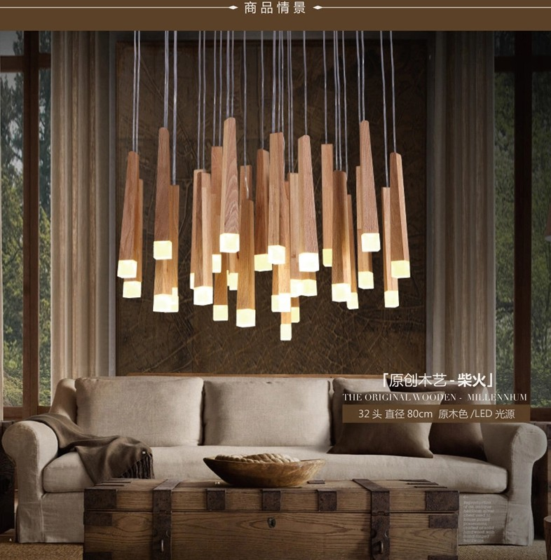 1Pcs New Matches Pendant Light Nordic Simple Solid Wood Acrylic LED Pendant Lamp for Bar Restaurant Cafe Bar lamparas colgantes