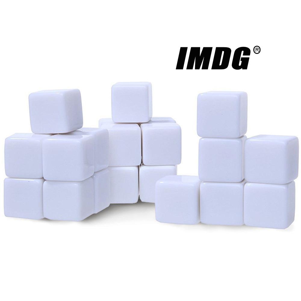 10 unidades/pacote novo acrílico 16mm branco, dado em branco para ensino, acessórios para jogo, ferramentas matemáticas, canto quadrado