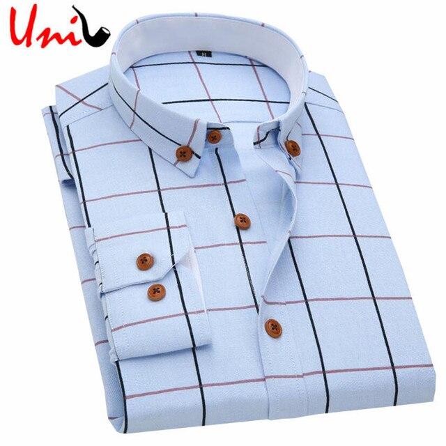 2017 New Oxford Xadrez Casual Camisa Primavera dos homens Os Homens Se Vestem Camisa de Manga Longa Slim Fit Formal & Negócios Ocupação homem Camisas YN549