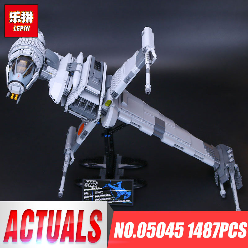 Lepin 05045 Star 1487pcs Genuine War Series The B Starfighter wing Educational Building Blocks Bricks Toys 10227 for Gifts model lepin 05040 y attack starfighter wing building block assembled brick star series war toys compatible with 10134 educational gift