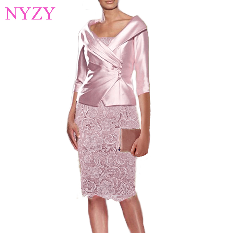 NYZY M1A Real Dress For Wedding Party Guest Wear With Jacket Bolero 2 Piece Pink Mother Of The Bride Groom Dresses 2019(China)