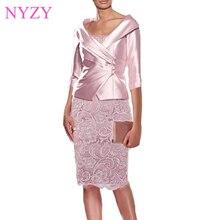 NYZY M1A Настоящее платье для свадебной вечеринки, одежда для гостей с жакетом, болеро, 2 предмета, розовые платья для матери невесты, жениха