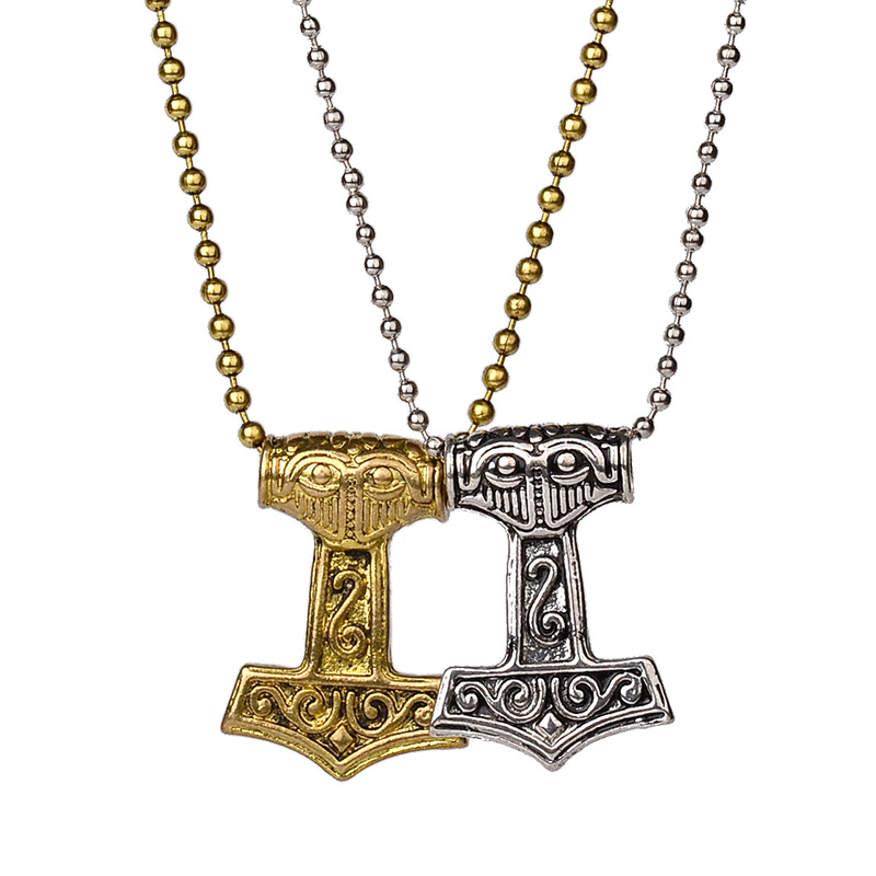 Gaxybb 2016 Pirate Amulet Chain Beads Necklaces Silver Pendants Plated Gold Vintage Nails Vikings Long Necklace Women's
