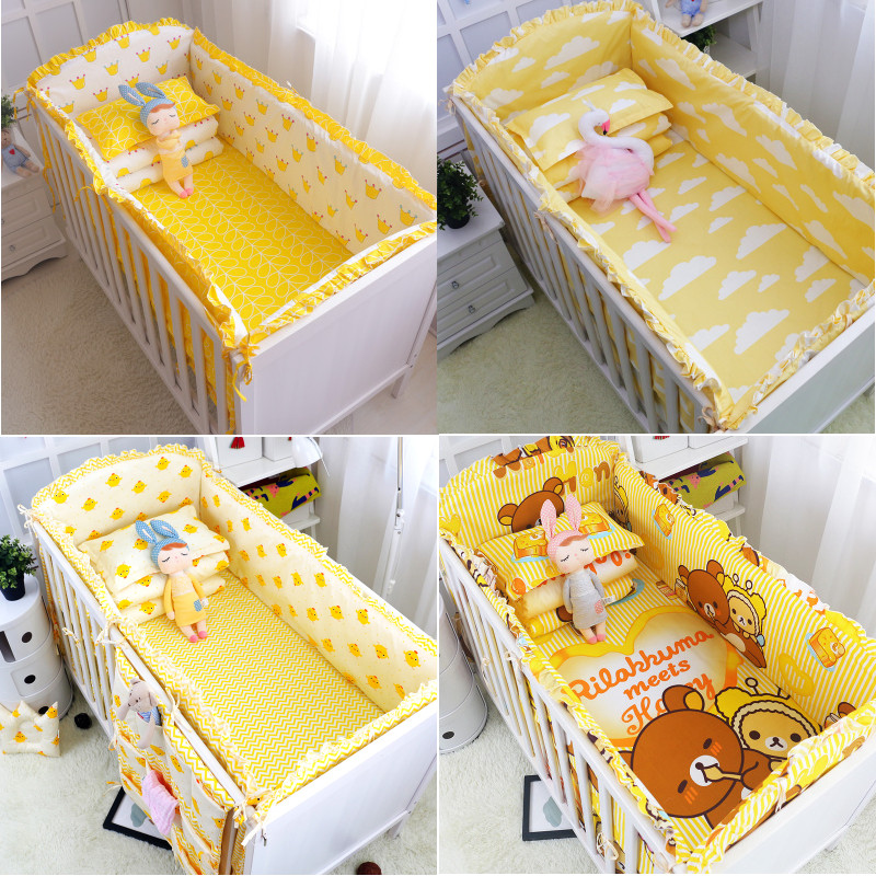 Dropshipping 6PC 100%Cotton Baby Crib Bumpers Bedding Cartoon Baby Bedding Sets Bed Safety Baby Fence Bed Sheets Newborn Bumper-in Bumpers from Mother & Kids    3