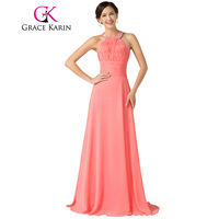 Free Shipping 2015 Grace Karin Halter Chiffon Watermelon Bridesmaid Dresses Floor Length Long Back To School