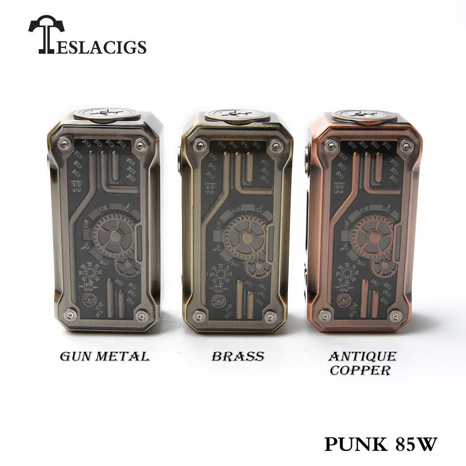 Original Tesla Punk Mini 85W Box Mod steampunk style 510 Thread TC TCR Vape Mod 18650 Electronic Cigarette Screen Box Mod USB