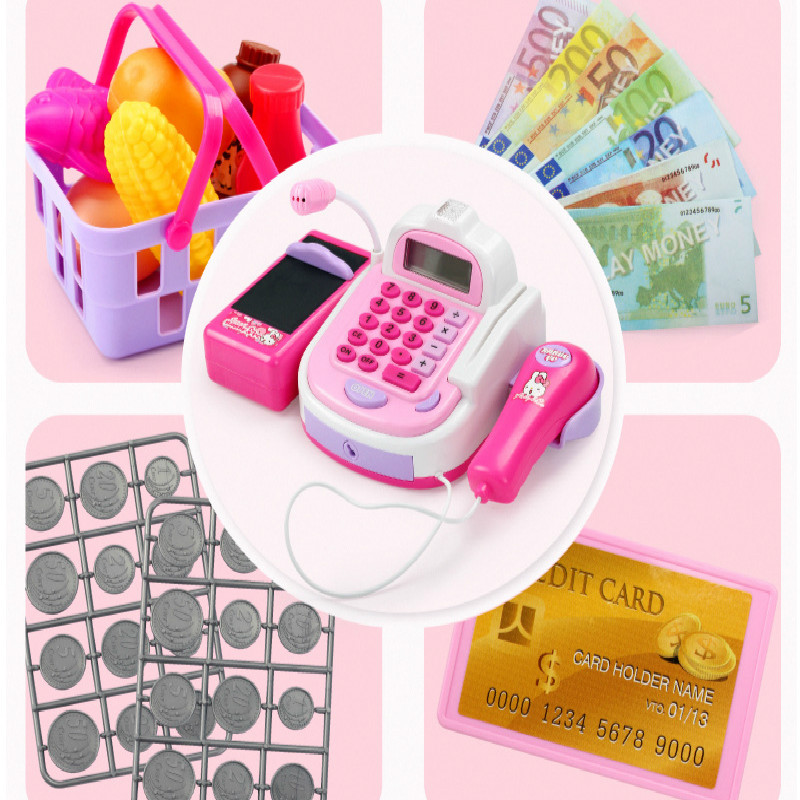 Mini Simulation Supermarket Checkout Counter Foods Goods Toys Kids Pretend Play Shopping Cash Register Set Toy For Girl's Gift Islamabad