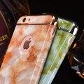 Granito pedra de mármore de luxo brilhante caso imagem para apple iphone 6 6 s 7 4.7 polegadas/Plus 3 em 1 Chapeamento Tampa Do Telefone À Prova de Choque Armadura