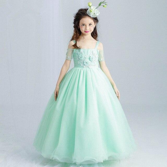 0a2b7d3420 Green Flower Girl Dress Party Fancy Long Girls Vestido Appliques Wedding  2018 Girl Clothes 10 12