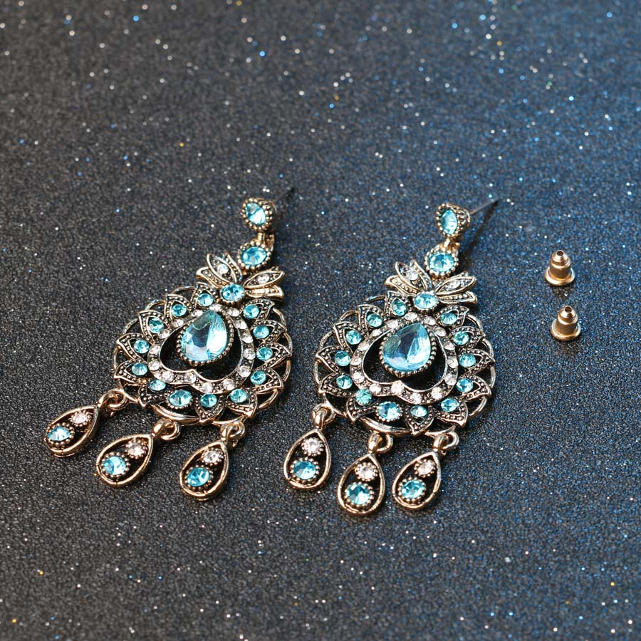 Charm India Vintage Look Set Perhiasan Liontin Kalung Anting-anting - Perhiasan fesyen - Foto 5