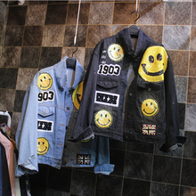 New road sequins smile face denim jacket girls's informal free denims outerwear D911