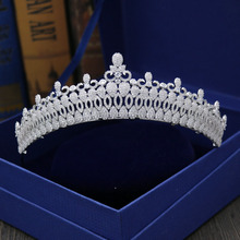 Fashion luxurious retro Paved CZ zircon Princess crown wedding bride dinner banquet Beauty tiaras hair jewelry free shipping