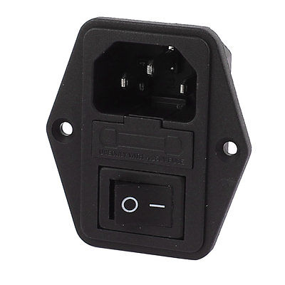 AC <font><b>250V</b></font> <font><b>10A</b></font> <font><b>3Pin</b></font> Black Rocker Switch Fuse Holder Inlet Power Socket Screw Mount image