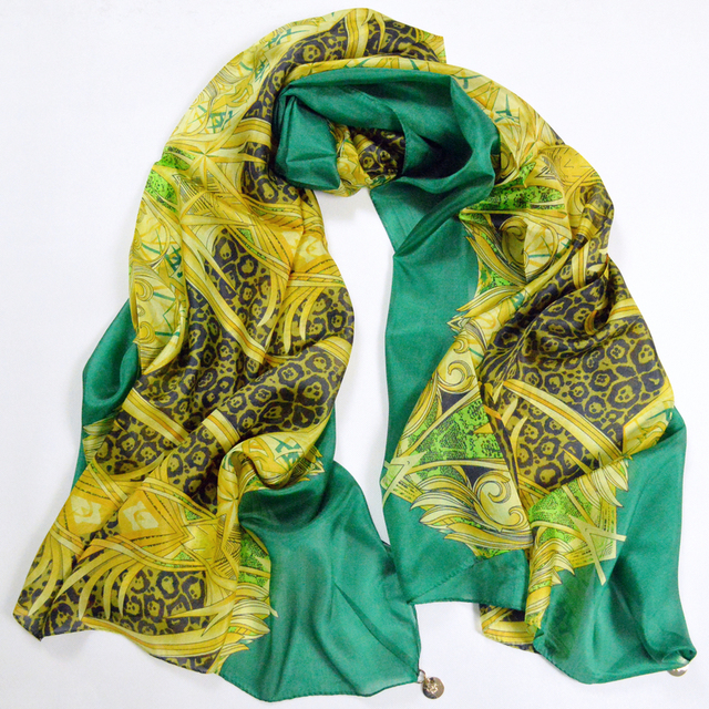 New Design Green Pure Silk Scarf For Women Fashion Sexy Leopard Print 100% Silk Long Scarves Wraps Summer Air-condition Shawls