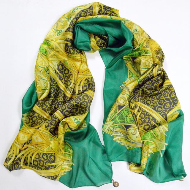 Nuevo Diseño Verde de Seda Pura Bufanda De Moda Mujer Sexy Leopard Print 100% Seda Bufandas Largas Wraps Verano el Aire condición Chales