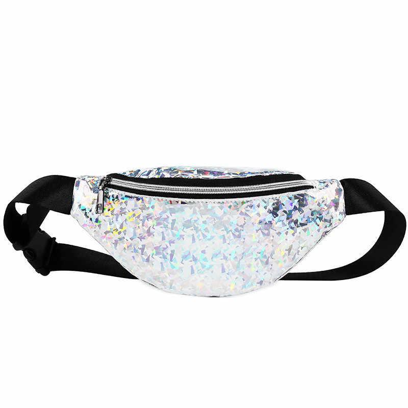 145742a7bd7a Fashion Bling Leather Waist Packs Women Silver mochila cintura Waist Bag  Belt Bag Female Pouch PU Casual Fanny Pack Bag