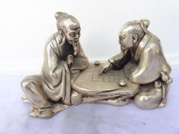 Chinese Folk Silver 2 Ancients People Play Chess Art Sculpture