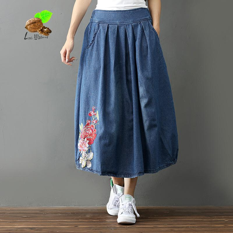 2018 New Autumn Art Retro Folk Style Embroidery Skirt womens Loose Pocket Denim skirts girls casual clothes Vintage clothing