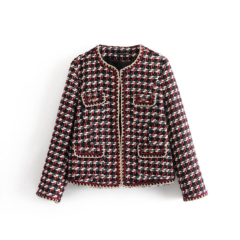 WT739 Autumn Fashion Women Luxury plaid design Chain Edge O Neck Soft Twill Jacket Elegant Outwear