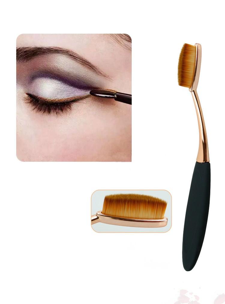 Toothbrush NEW Oval Shape Powder Foundation Makeup Brush Brushes Make up Eyebrow Beauty Tools Black Gold 10PCSset (8)