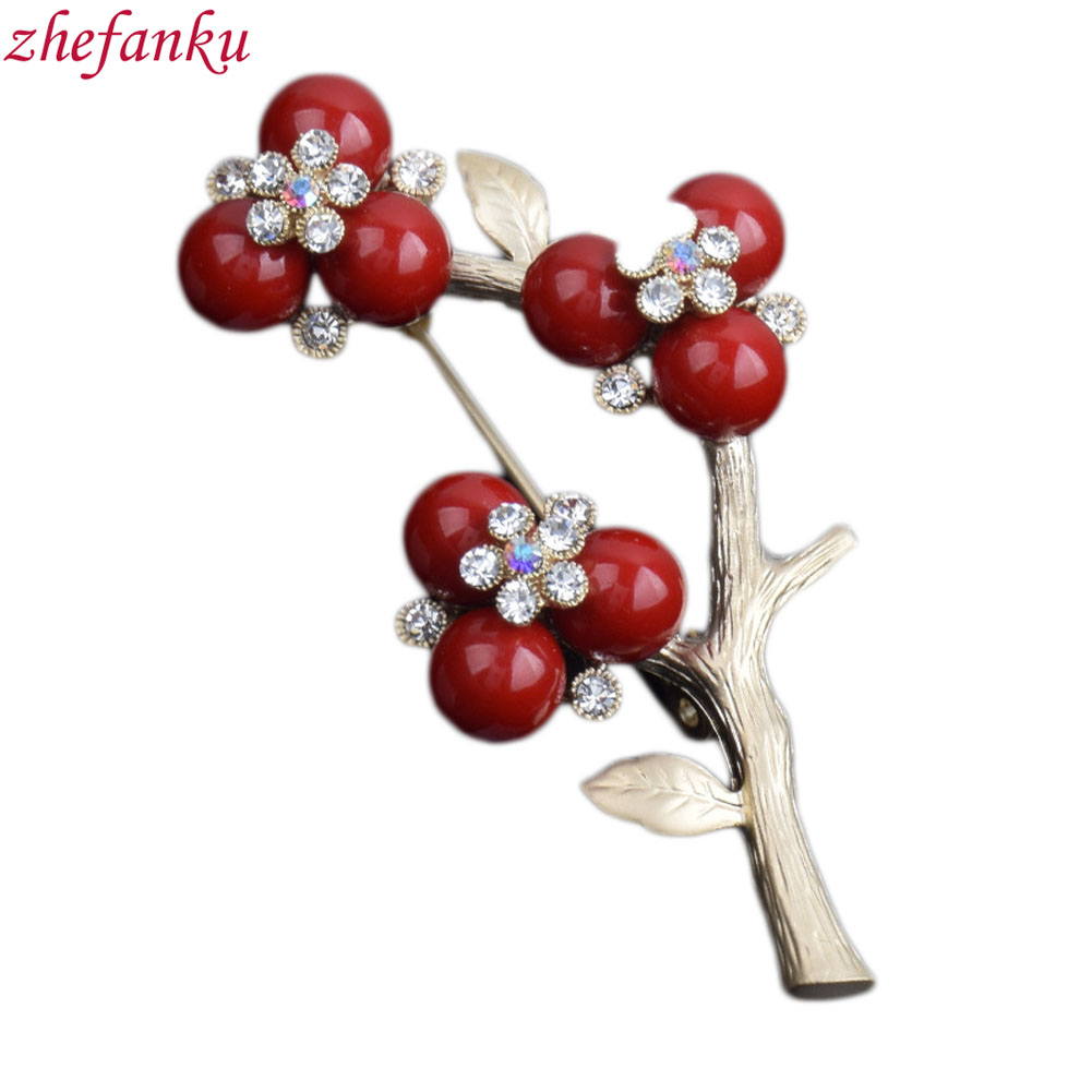 Vintage Imitation Pearls Plum Flower Brooch Silver Color Special Brooches Pins Gift For Women Jewelry
