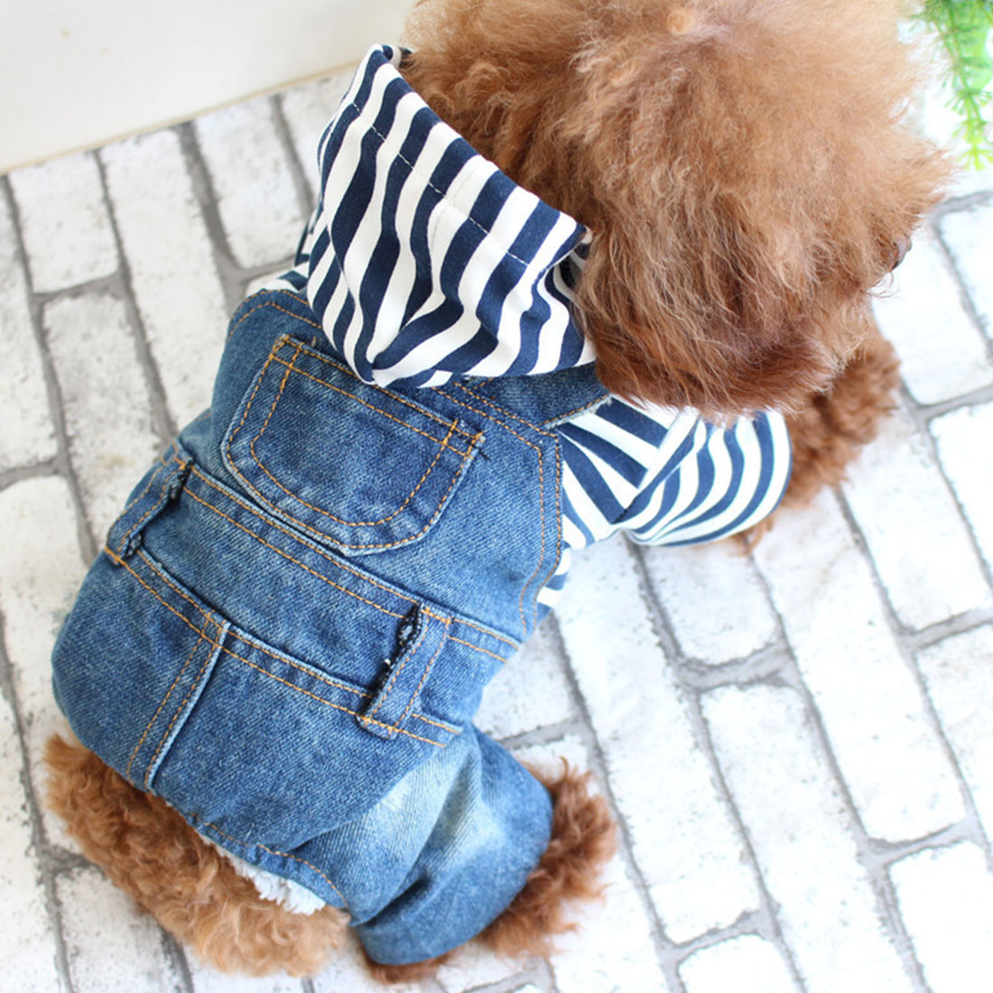 Denim Stripe Pet Dog Jumpsuits Puppy Cat Hoodie Jean Coat Four Feet Clothes For Small Dogs Teddy Yorkies Sweatshirt Dog ClothDenim Stripe Pet Dog Jumpsuits Puppy Cat Hoodie Jean Coat Four Feet Clothes For Small Dogs Teddy Yorkies Sweatshirt Dog Cloth