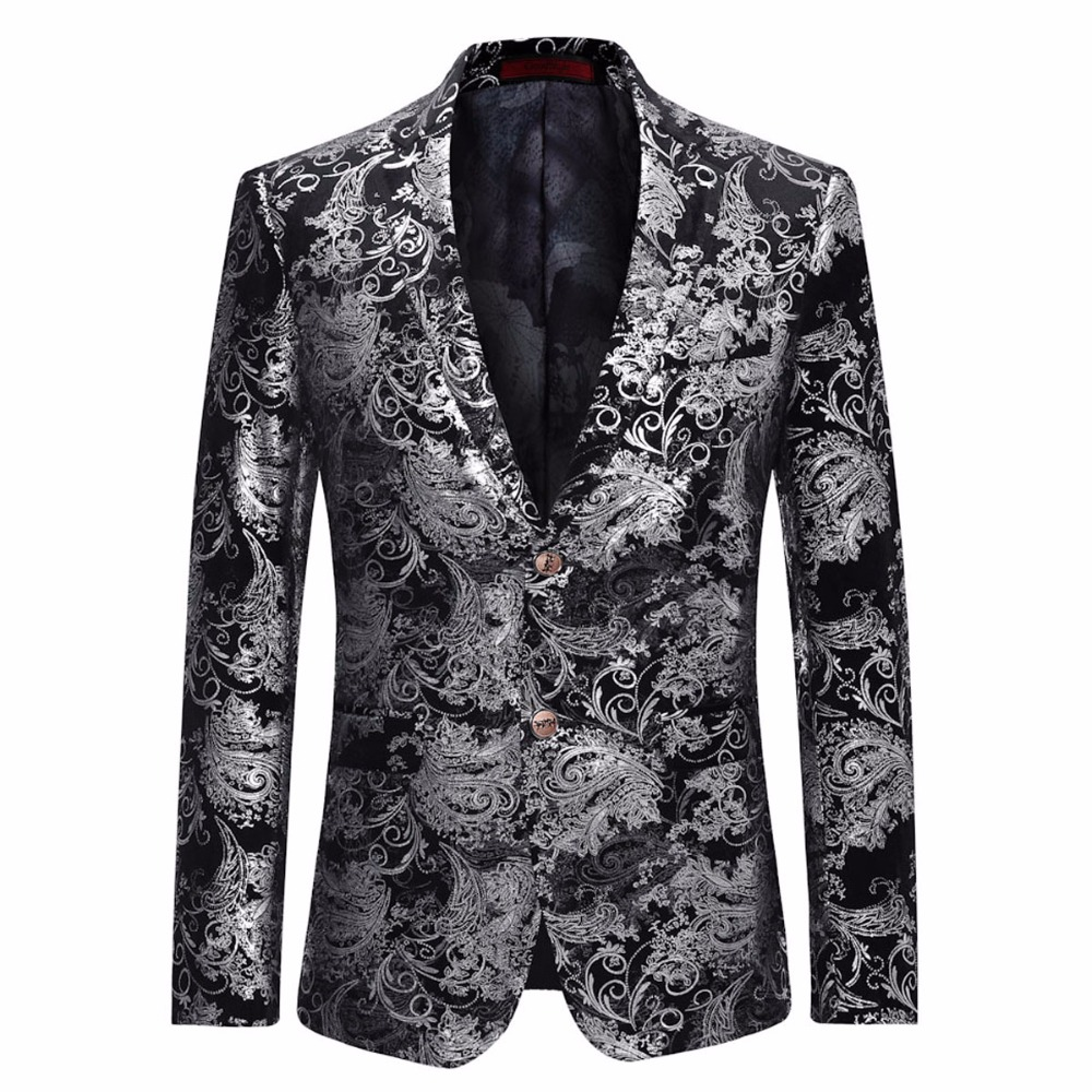 a581d5abcfd Cloudstyle Male Suit Blazer Fasion Red Floral Printing Single Button Blazer  Casual Slim Fit Jacket For Formal Party Plus Size 5X-in Blazers from Men s  ...