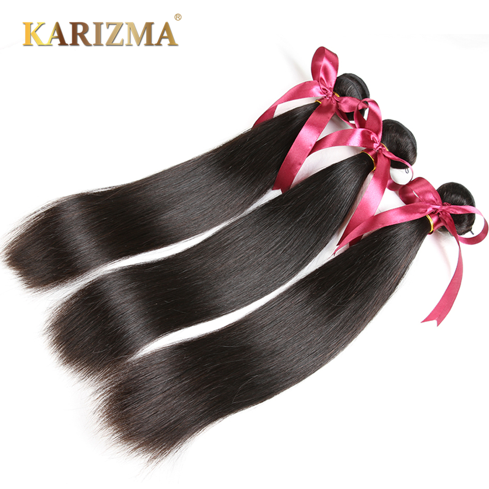 Karizma Brasilian Straight Hair Bundles 3 stk Lot Natural Black Color - Menneskelig hår (for svart)