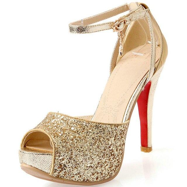2017 Nueva Moda Sexy Sandalias de Las Mujeres Zapatos de Boda Rhinestone Bombas de la Plataforma Inferiores Rojos de los Altos Talones de Oro de Plata Negro